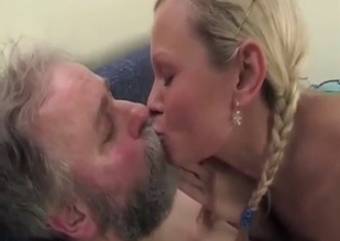 Blonde in a see-through get-up seducing her dad