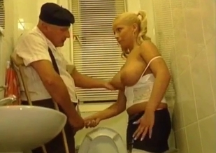 Busty blonde fucked by her senile-looking dad