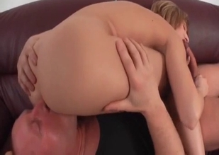 Blonde sucks her father's meaty cock