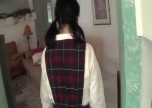 Schoolgirl brunette gets ravaged by her dad