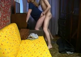 Blue get-up thick MILF rides her son's huge cock