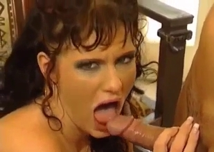 Pierced pussy brunette blows her own father