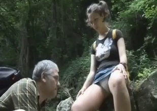 Skirt-wearing monotone brunette fucks her dad