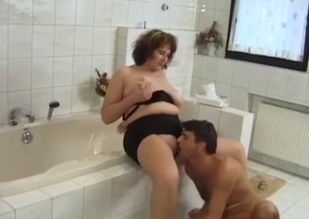 Mommy tenderly banged in the bathroom