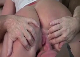 Round booty brunette rimmed by her dad