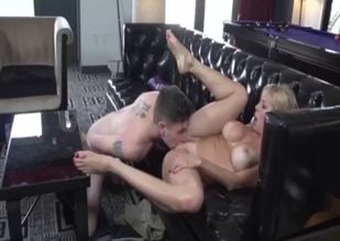 MILF blonde sucking son's throbbing boner
