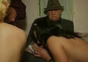 Blond-haired seductress blows her ancient grandpa