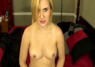 Perverted blonde sucks her brother's cock