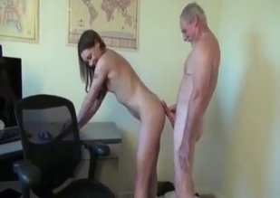 Wrinkly old fart fucking her granddaughter on cam
